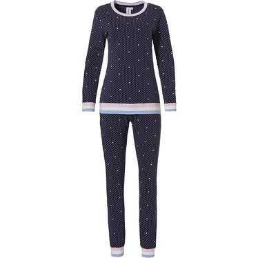 Rebelle 'just dotty about hearts ♥' dark blue & pale pink cotton mix long sleeve pyjama with stripey cuffs, trimming and long matching pants