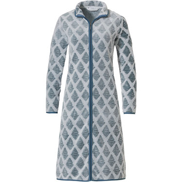 Pastunette 'symmetrical link of diamonds' off white & jade green soft fleece morninggown with full zip, collar and two pockets
