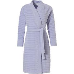 Pastunette overslag kimono-stijl zacht katoenen badjas 'soft horizontal lines'