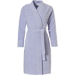 Pastunette wrap-over kimono style cotton robe 'soft horizontal lines'