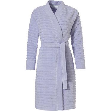 Pastunette 'zachte horizontale lijnen' licht hemelsblauw, kimono-stijl, katoenen overslag badjas met ceintuur