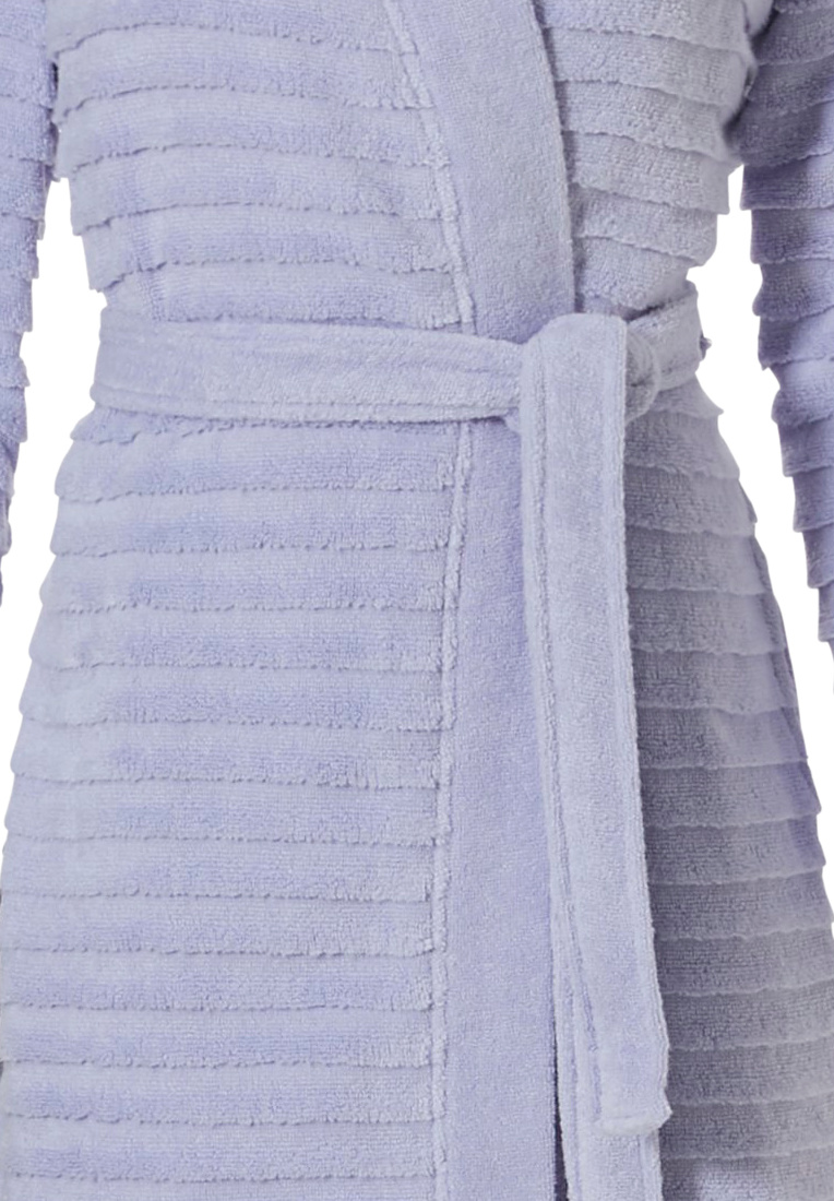 Pastunette 'soft horizontal lines' pale sky blue, kimono style, wrap-over 100% soft cotton robe with belt