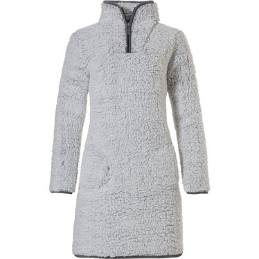 Rebelle 'teddy bear soft' light grey soft & warm, thick sherpa fleece, home loungewear dress with cosy zip collar, two pockets  and dark grey trimming