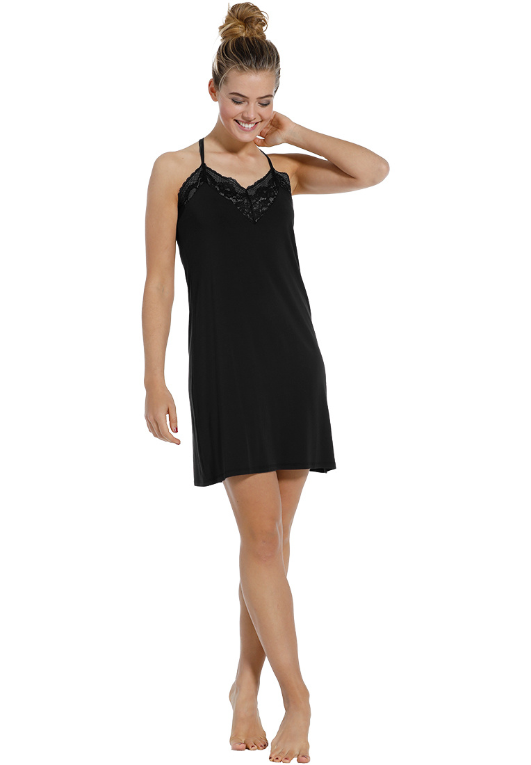 Pastunette Deluxe 'beauty in lace' black luxury ladies slipdress with beautiful lace around the flattering, sensual 'sweetheart look' neckline and adjustable 'cross style' straps