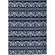 Pastunette Deluxe 'lined in elegance' dark blue & pure white long sleeve cotton - modal  nightdress with 5 buttons