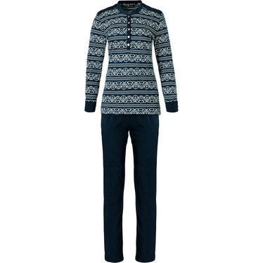 Pastunette Deluxe 'lined in elegance' dark blue & pure white long sleeve cotton - modal pyjama set with 5 buttons and long dark blue pants