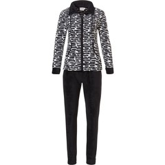 Pasha soft fleece black & white home lounge suit 'link of bricks'with collar