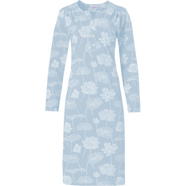 Pastunette 'sacred lotus flower' light blue & white floral patterned long sleeve nighgtdress with  3 buttons