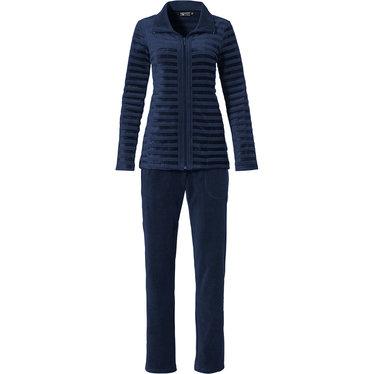 Pastunette Deluxe 'navy velvet lines' dark blue luxury velvet homesuit with full zip, collar and long dark blue velvet pants with pockets
