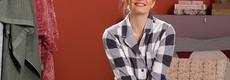 Pastunette long sleeve full button fleece pyjama 'block chunky checks'