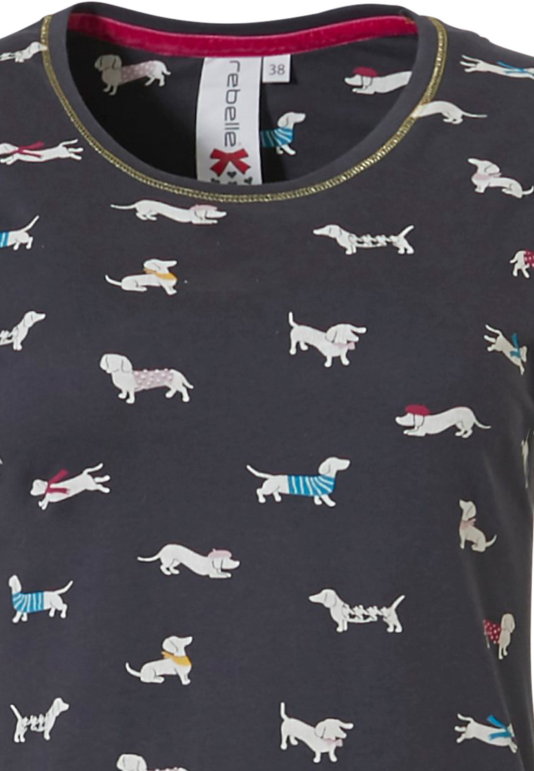 Rebelle 'sausage dogs' dark grey  long sleeve 100% cotton interlock nightdress with an all over pattern of cute little  'sausage dogs'