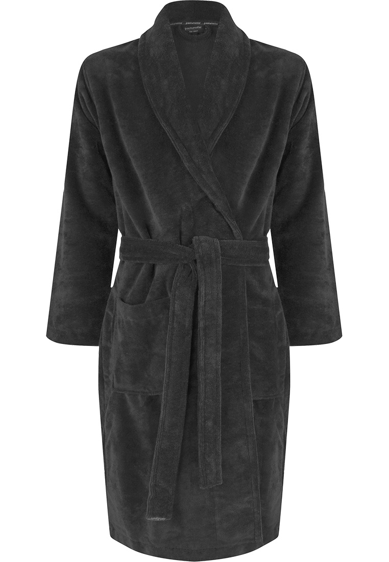 Pastunette for Men grey men's soft cotton-mix morning gown with shawl collar, belt and two front pockets