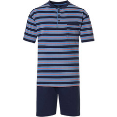 Robson men's cotton shorty set with buttons 'stripes'n'style'