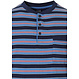 Robson 'stripes'n'style dark blue, cadet blue & red men's stripey cotton shorty set with 3 buttons, chest pocket and dark blue shorts with an elasticated waist