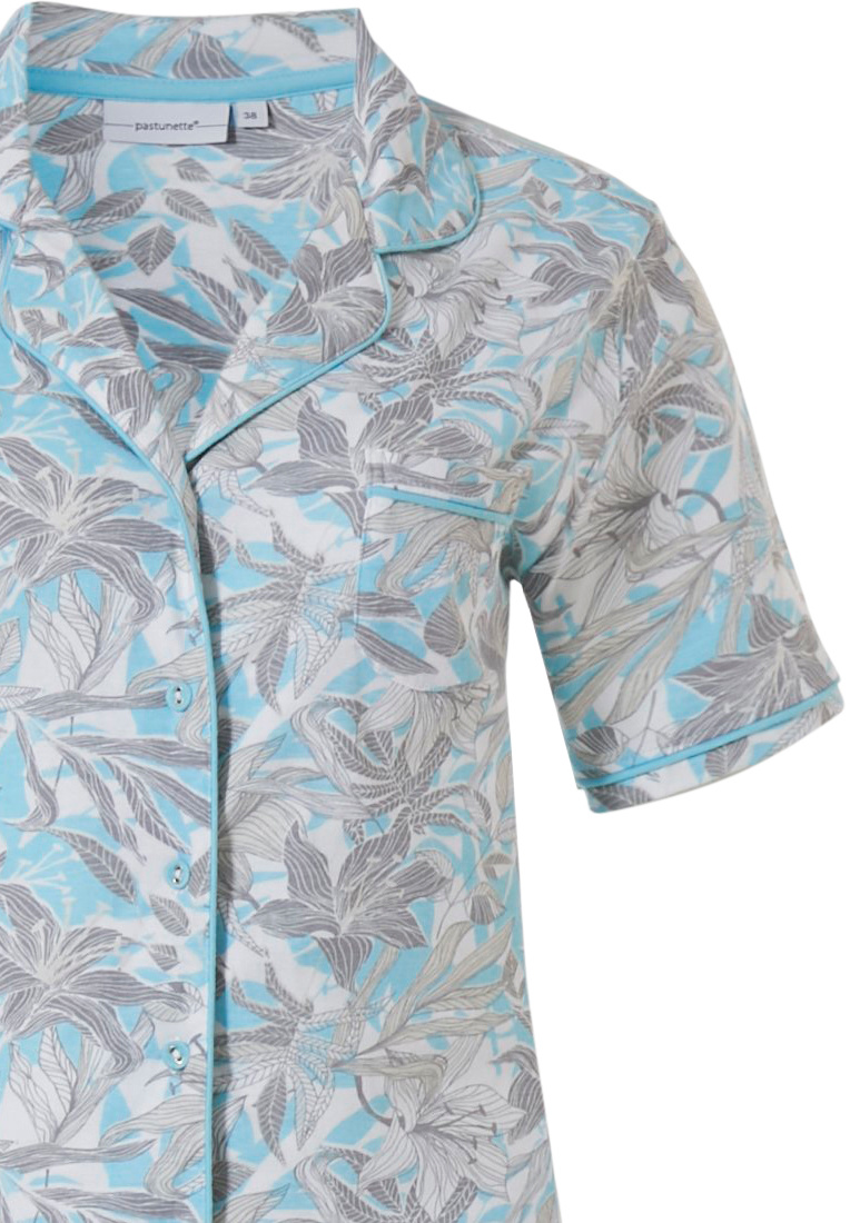 Pastunette 'floral dream garden' light sky blue & pure white ladies 100% cotton, short sleeve, full button pyjama set with revere collar, chest pocket and matching 'floral dream garden' long pants