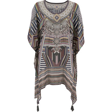 Pastunette Beach 'jewel beads paradise' white & brown beach poncho style kaftan with all over print - Cover-up in style with Pastunette Beach!