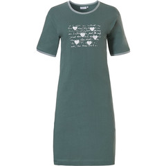 Pastunette short sleeve sage green cotton nightdress '♥ Lucky in Life ♥ '