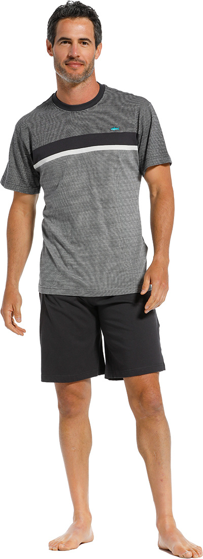 Pastunette for Men 'City Life, cool little green shark' mid grey,  green & white mens cotton shorty set with a 'cool little green shark' embroidered on the front and dark blue shorts