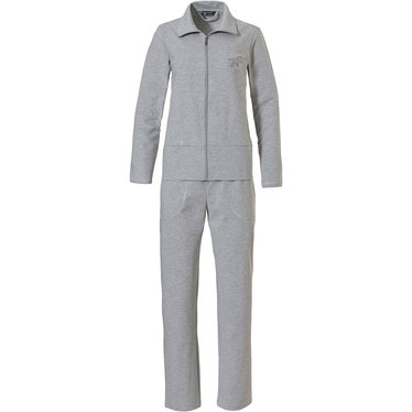 Pastunette Deluxe 'hint of star sparkle' mid shade of grey luxury home & lounge suit with full zip, collar, long matching pants and little hit of luxury silver sparkle and stones