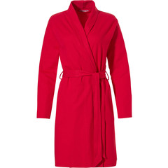 Pastunette ladies red microwaffle-cotton morning gown with shawlcollar