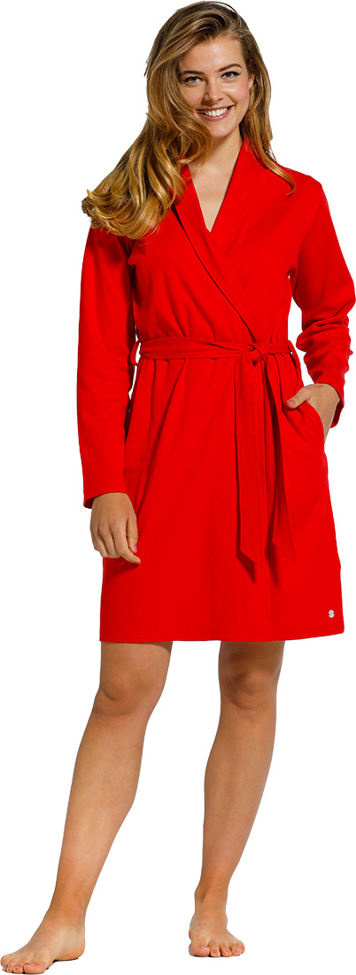 Pastunette passion red microwaffle-cotton wrap-over morning gown with shawlcollar, belt and two pockets