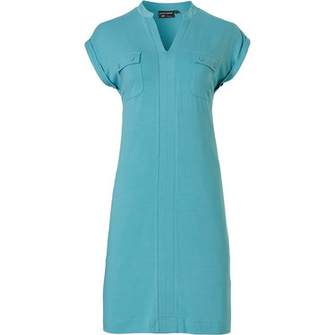 Pastunette Deluxe '70's style fashion' aquamarine sleeveless homewear dress with 70's style fashioniable 'v' neck and 2 frront pockets