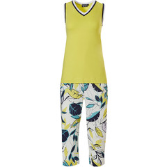 Pastunette Deluxe ladies sleeveless 'v' neck set '70's retro yellow vibes & leaves'