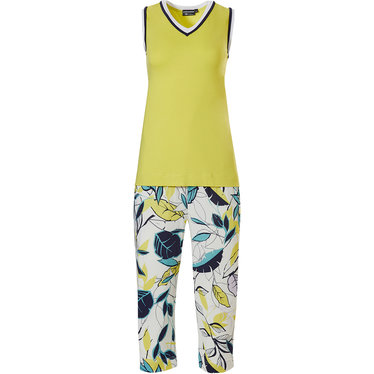 Pastunette Deluxe '70's retro yellow vibes & leaves' vibrant yellow, white & aquamarine sleeveless homewear set with 'v' neck and 3/4 'retro vibe leaves' pattern pants