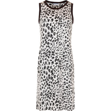 Pastunette Beach 'animal print' black & white animal print sleeveless beachdress with trendy black & trimimming