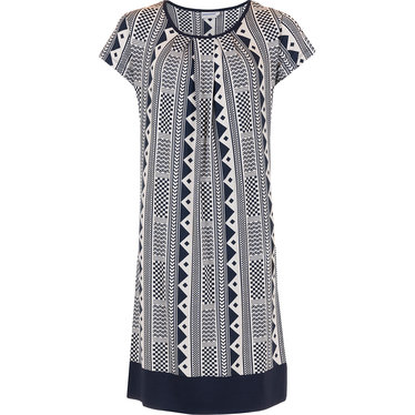 Pastunette Beach 'modern holiday fashion' dark blue & white short sleeve beach dress with pleated front, trendy dark blue banded hem and 'modern holiday fashion' all over print