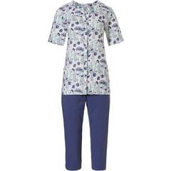 Pastunette doorknoop dames pyjama van biologisch katoen met korte mouwen 'spring waterflower garden'