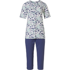 Pastunette ladies organic cotton short sleeve full button pyjama set 'spring waterflower garden'