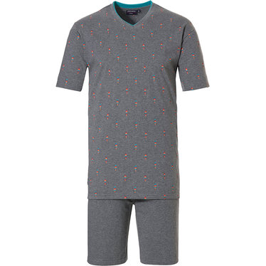 Pastunette for Men 'cool ice pops' grey mens 80% cotton - 20% polyester shorty set with trendy 'cool ice pops' pattern and grey 100% cotton shorts with an elasticated waist
