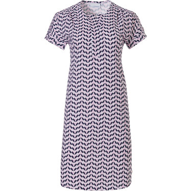 Pastunette 'dewdrop petals' pink, white & blue short sleeve cotton nightdress with a neat little 'v' pleated front