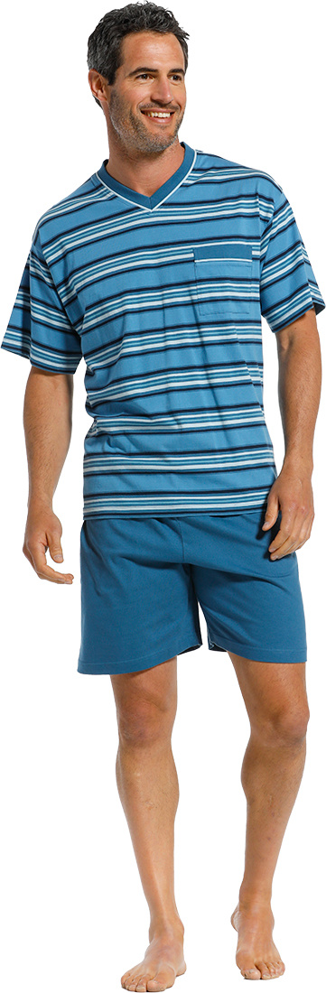 Robson 'just stripes' cadet blue, white & turquiose 100% cotton mens striped 'v' neck shorty set with chest pocket and cadet blue shorts with an elasticated waist