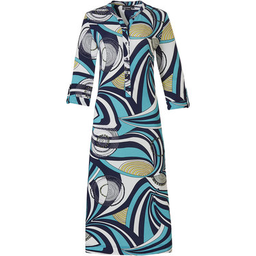 Pastunette Deluxe '70's groovy fashion' pure white & aquamarine 3/4 sleeve homewear dress with decorative turn-up, 5 buttons  and a modern all over graphic '70's groovy fashion' style pattern