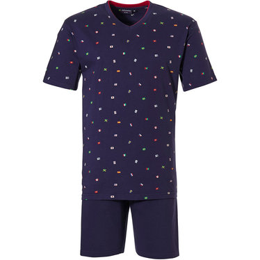 Pastunette for Men 'dream traveller' dark blue mens 100% cotton 'v' neck shorty  set with world of flags pattern and dark blue shorts with an elasticated waist