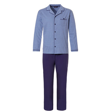 Pastunette for Men 'micro dots & circles' cadet blue & marine blue mens full button pyjama set with revere colllar, 80% cotton - 20 polyester long sleeve top and 100% cotton marine blue pants with an elasticated waist