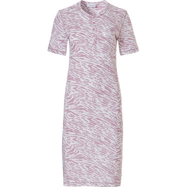 Pastunette 'animal magic 'pure white & sweet lilac ladies short sleeve cotton nightdress with 5 buttons and all over sweet lilac animal print