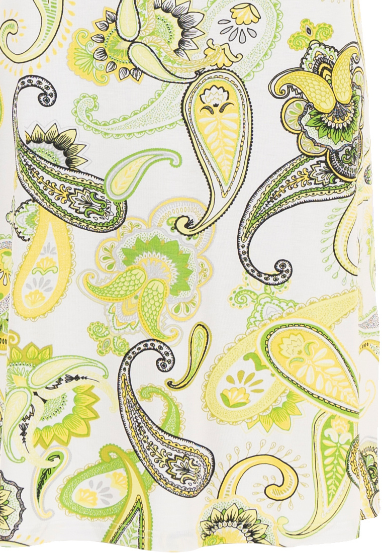 Pastunette Beach 'Summer citrus paisley' zesty lemon & pale lime short sleeve beach dress with fashionable front detail and all over 'Summer citrus paisley' pattern - Perfect look for your Summer wardrobe!