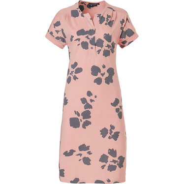Pastunette Deluxe 'floral art' salmon pink & grey short sleeve 50% cotton - 50% modal  'floral art' patterned ladies nightdress with 3 buttons