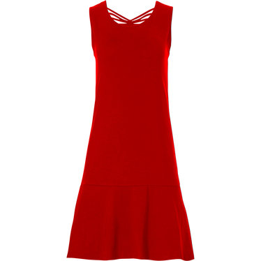 Pastunette Beach 'Summer Day' poppy red ladies sleeveless beach dress with pretty back details and flattering broad hem - A 'must have' for any  Summer wardrobe!