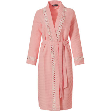Pastunette Deluxe salmon pink square waffle kimono style wrap-over morninggown with belt, pockets and pretty detailing