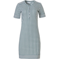 Pastunette ladies short sleeve cotton nightdress with buttons 'geometrical pied de poule & circles & stars'