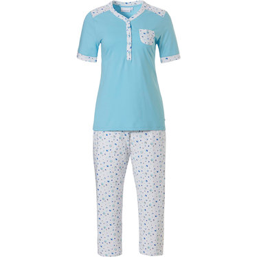 Pastunette 'mysterious circles' light sky blue & pure white, 100% cotton short sleeve pyjama set with 5 buttons, matching trim on neckline, shoulders, sleeves and chest pocket and 3/4 'mysterious circles' patterned pants