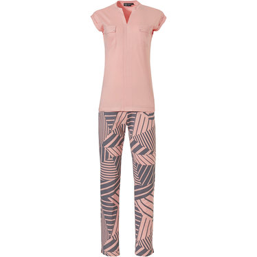 Pastunette Deluxe 'grapic art stripes' salmon pink & grey, sleeveless 50% cotton - 50% modal full pyjama set with stylish 'v' neck salmon pink sleeveless top, 2 chest pockets and long all over 'grapic art stripes' print pants