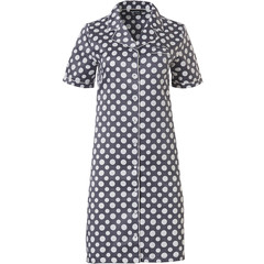 Pastunette Deluxe short sleeve satin soft full button nightdress 'deeply dotty'