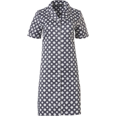 Pastunette Deluxe 'deeply dotty' white & grey short sleeve full button cuddle satin nightdress with a bold all over 'deeply dotty' pattern