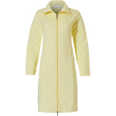 Pastunette gele damesbadjas van lichtgewicht badstof met ritssluiting, kraag en twee zakken - Perfect voor de zomer!