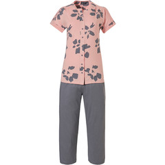 Pastunette Deluxe short sleeve full button pyjama 'floral art'
